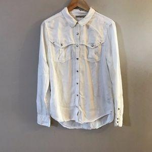 Anthro Holding Horses White Snap Button Down Shirt